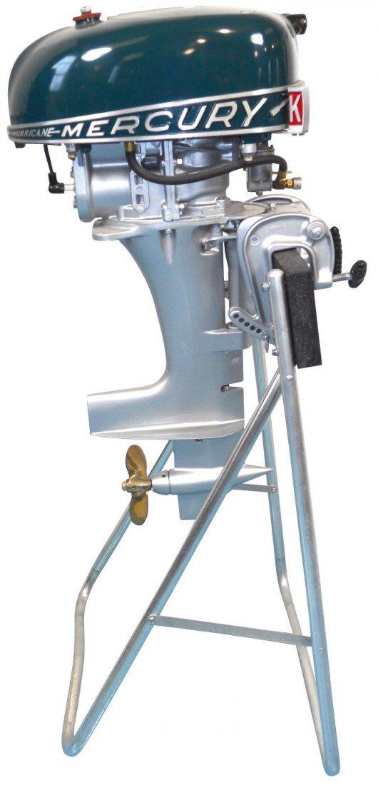 0339: Boat outboard motor w/stand, Mercury KG4H Rocket  - 2