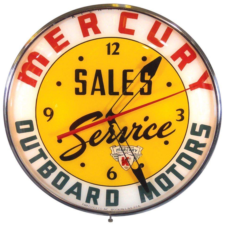 0342: Boat motor dealer advertising clock, Mercury Outb