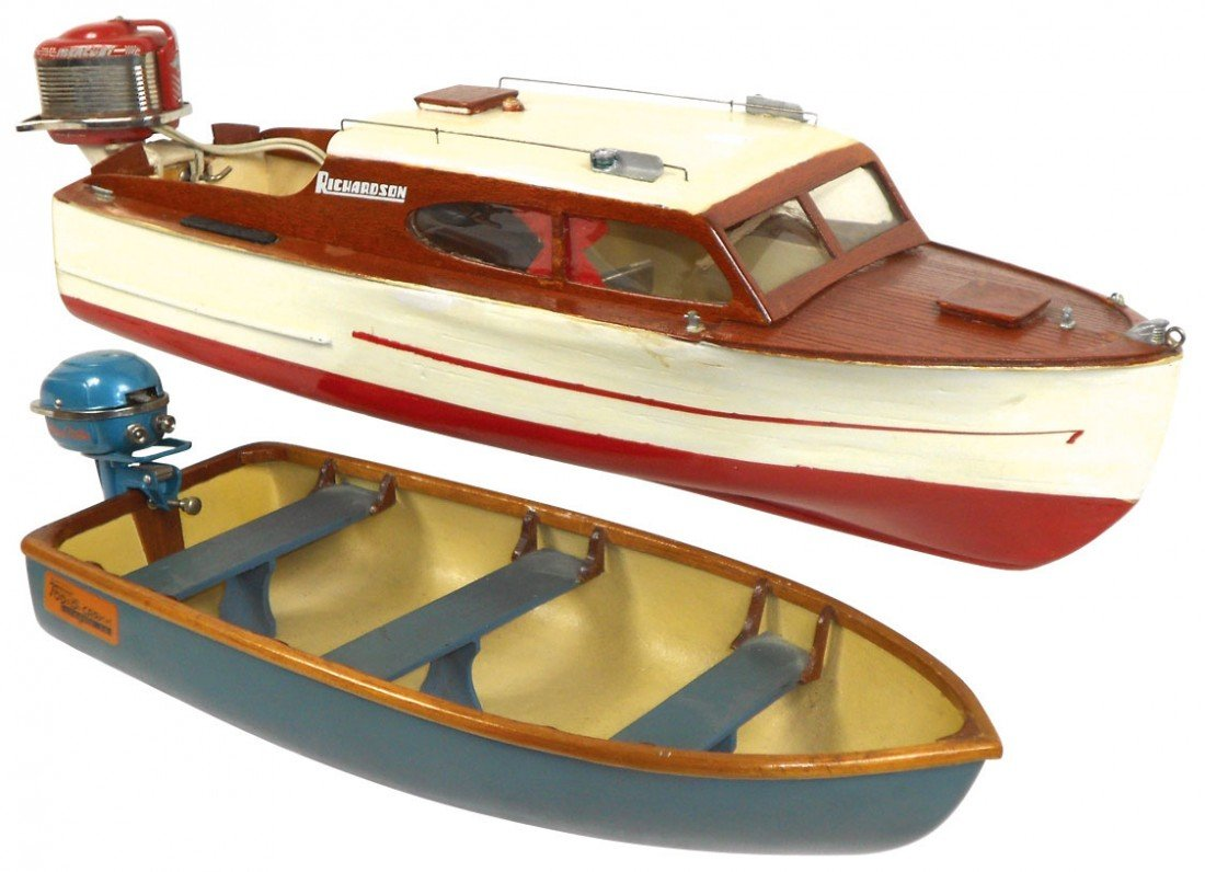 0502: Toy boats (2), Top-O-Car Boat, mfgd by Chemold, h