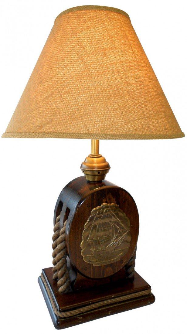 0579: Nautical lamp, U.S.S. Constitution, wood w/rope t