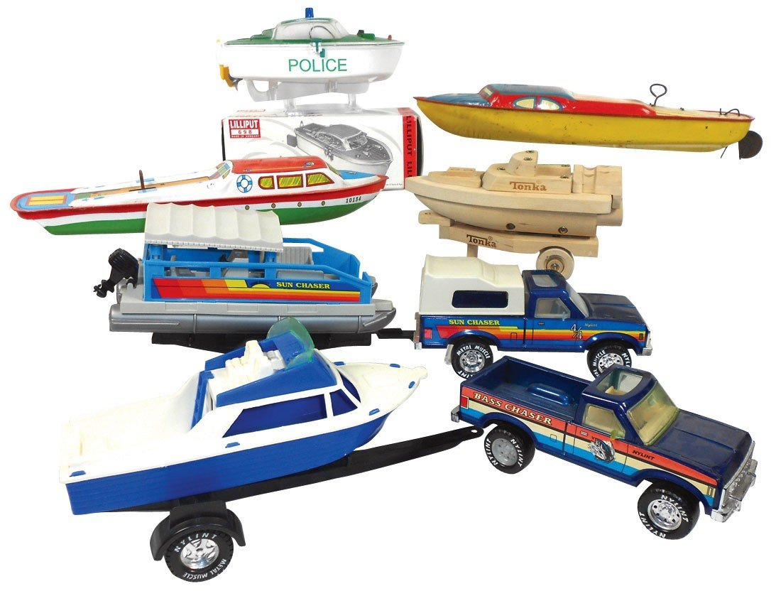 "0659: Toy boats (6), Lindstrom tin windup, 14""L, Ohio A"