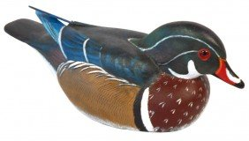 Decoy, Wood Duck Drake Carved By Torry Ward-Canad