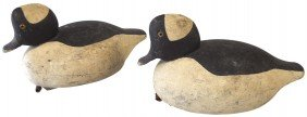 Decoys (2), Bufflehead Drakes Carved By Don LeMay