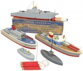 Toy Boats (5), All Wood, Keystone Submarine W/box