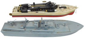 Toy Boats (2), Wood Model PT Boat W/engine, VG Co