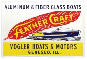 Boat Dealer Advertising Sign, Feather Craft, From