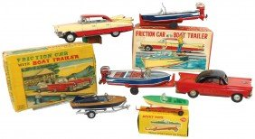 Toy Boats, Cars & Trailers, 2 Sets Of Japanese Ti