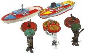 """Toy Boats & Motors (5), 2 Tin Speed Boats, 8""""L, V"""
