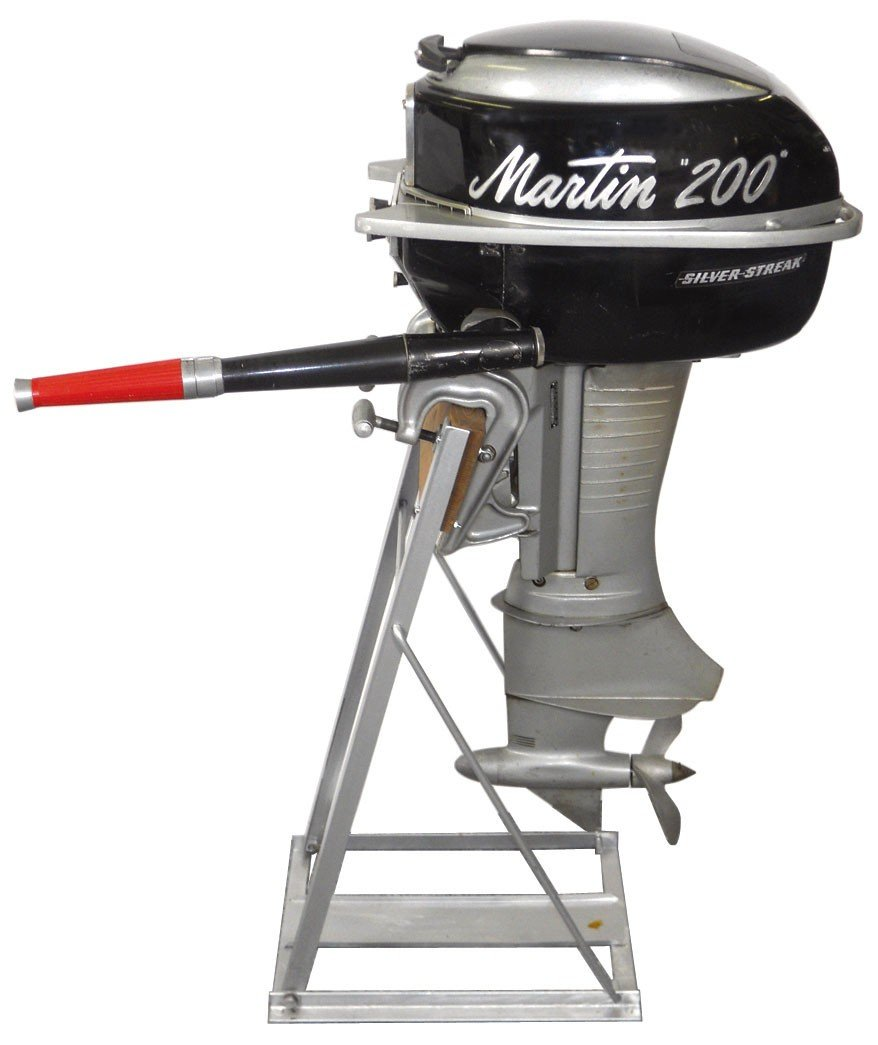 0791: Boat outboard motor w/stand, Martin, Model 200 Si