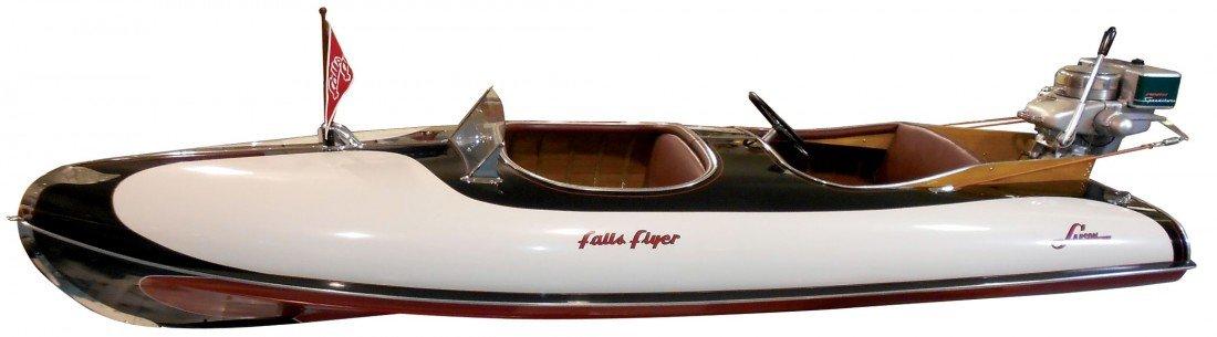 0850: Speed boat, Larson Falls Flyer Outboard, wood w/c