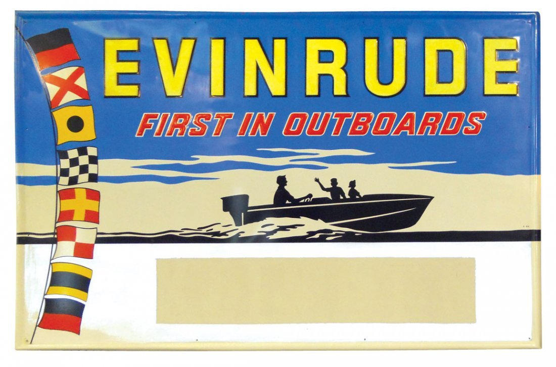 0852: Boat motor dealer advertising sign, Evinrude-Firs