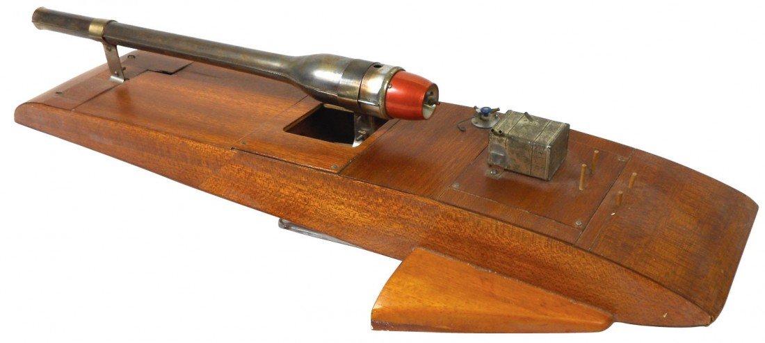0856: Toy boat, custom-made hydroplane, wood w/jet engi