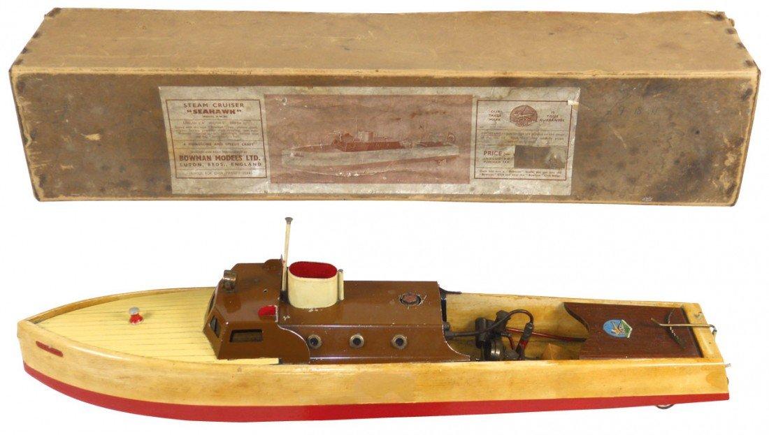 """0859: Toy boat, """"Seahawk"""" steam cruiser, mfgd by Bowman"""