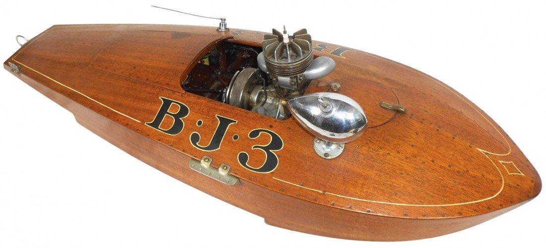 0871: Toy boat, B.J.3 tether boat, mahogany, maker unkn