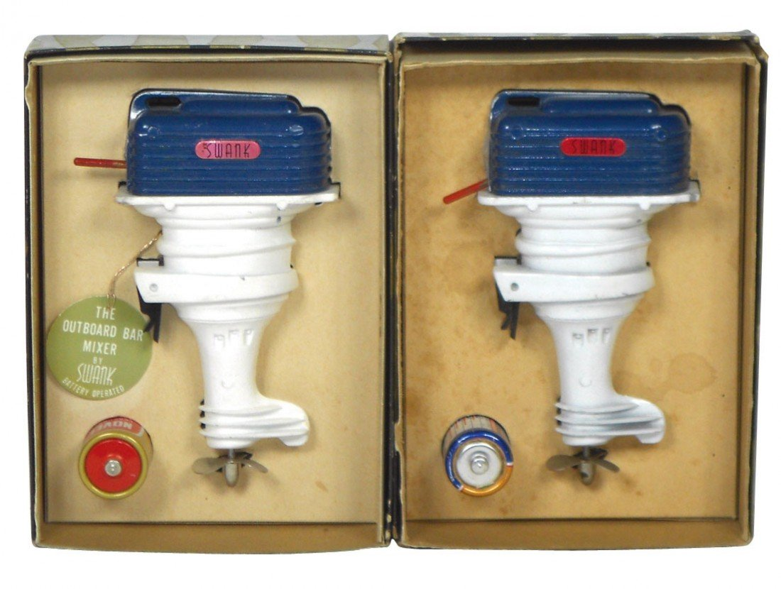 0891: Miniature outboard motor drink mixers (2), both m