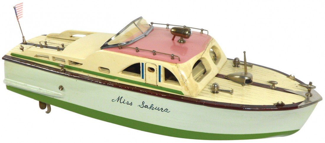 """0903: Toy boat, Japanese ITO cabin cruiser """"Miss Sakara"""