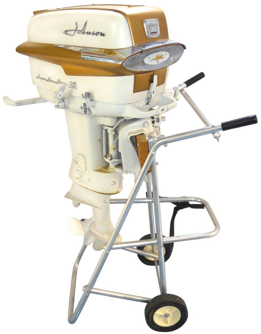 0907: Boat outboard motor w/stand, Johnson Super Sea-Ho