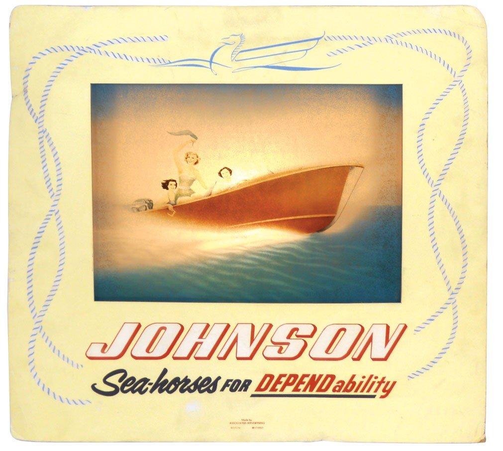 0908: Boat motor dealer advertising motion sign, Johnso
