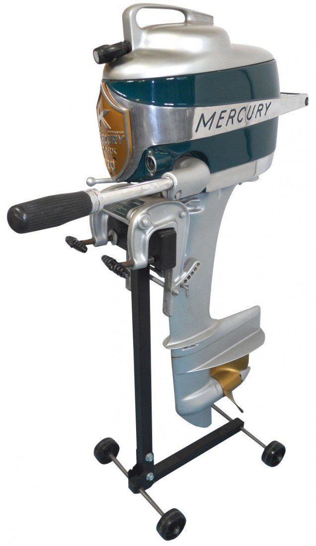 0909: Boat outboard motor w/stand, Mercury Mark 20 Hurr