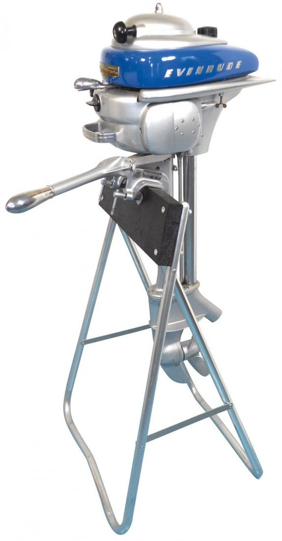 0913: Boat outboard motor w/stand, Evinrude Zephyr, c.1