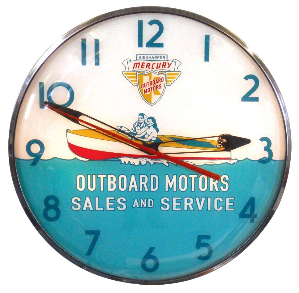 0950: Boat motor dealer advertising clock, Kiekhaufer M