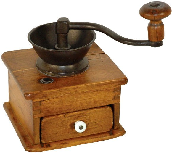 2: Coffee grinder, wood & iron, dovetailed construction