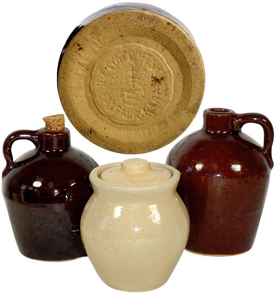 4: Roycroft Products Co. jugs (2) & Roycroft covered po