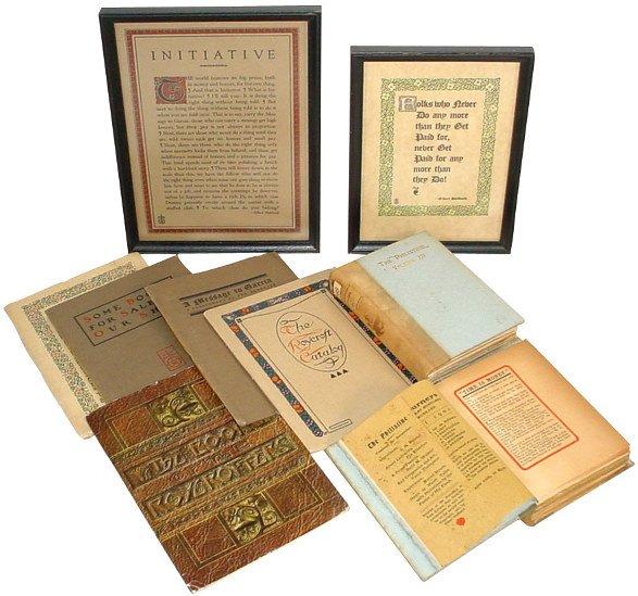 5: Roycroft books (7) & (2) framed mottos; The Motto Bo