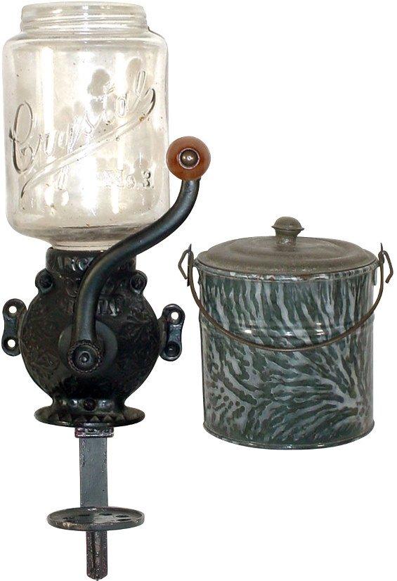 "7: Arcade ""Crystal"" coffee grinder & gray granite bucke"