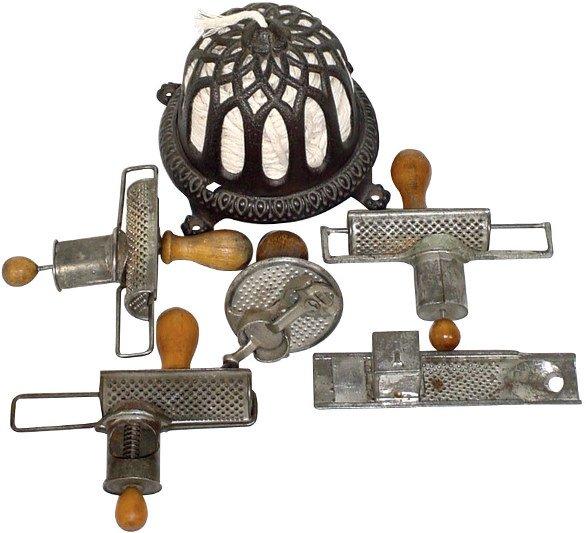 10: Nutmeg graters (5) & cast iron string holder; 3 Edg