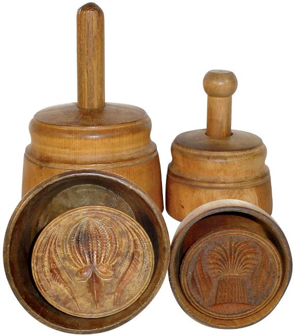 15: Wooden butter molds (2); fancy ribbed melon, pat. A