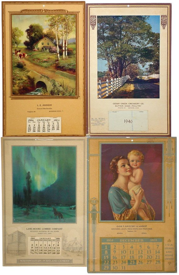 16: Iowa advertising calendars (4); Guhl's Market-Jewel