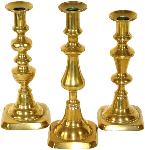 24: Brass candlesticks (3), all early 1900's & in VG co