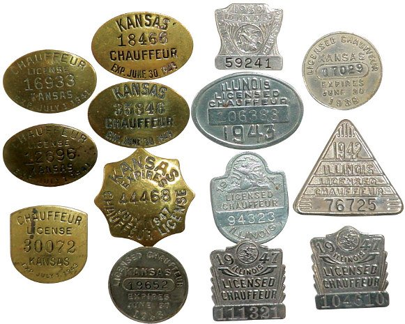 39: Illinois & Kansas chauffeur badges (14); Illinois 1