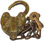 47: Railroad padlock, B. & O. R.R. Co. brass heart shap