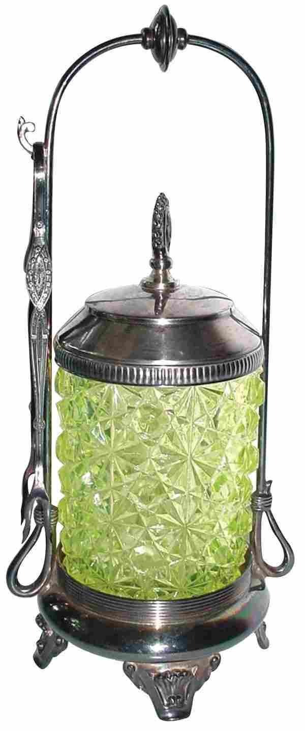 Vaseline glass pickle castor in silver-plated frame