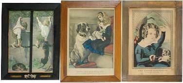 166: N. Currier & S.L. Thorpe children w/dog lithograph