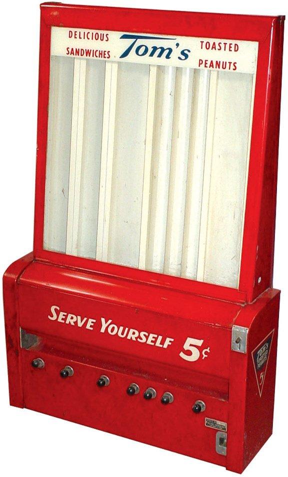 247: Tom's Peanut 5 Cent vending machine, vends bags of