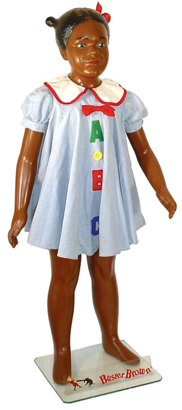 363: Buster Brown Black mannequin, girl w/pigtails, mfg