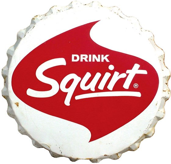 552: Squirt bottle cap sign, enamel on metal, Good+ con