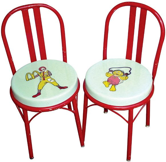 553: McDonald's chairs (2), heavy steel frames, both in