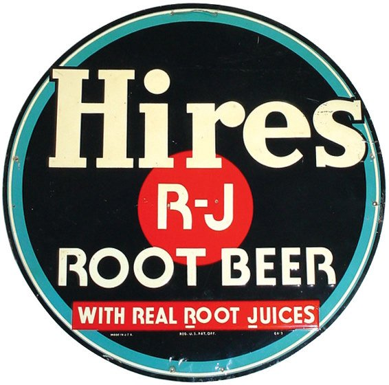 555: Hires Root Beer embossed tin sign, nice round sign