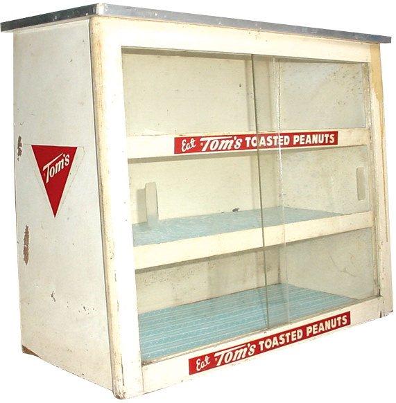 556: Tom's Toasted Peanuts wood display cabinet w/slidi