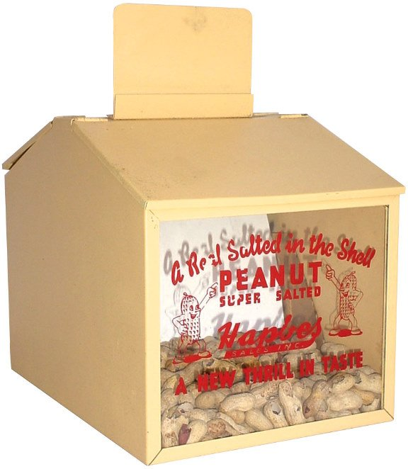 557: Hapbes Salted Peanut display, metal cabinet w/lid