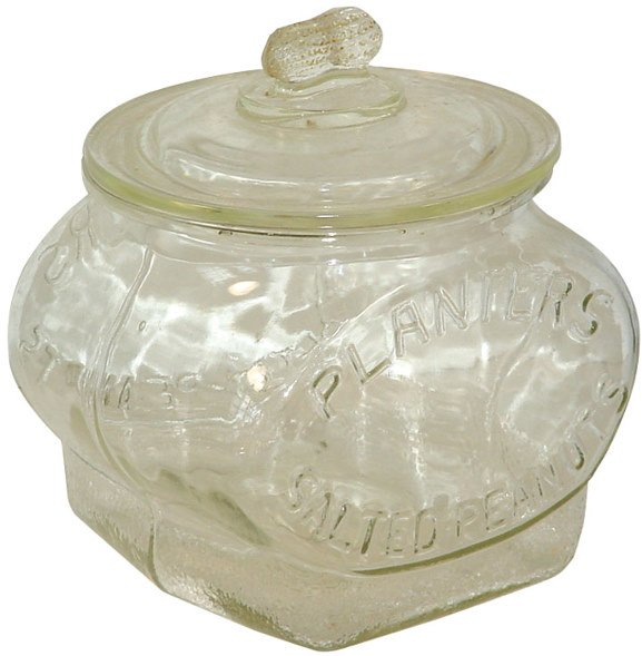 559: Planters Peanut football jar, embossed Planters Sa