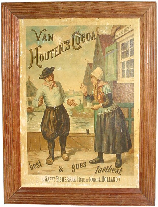 "565: Van Houten's Cocoa litho on board, titled ""A Happy"