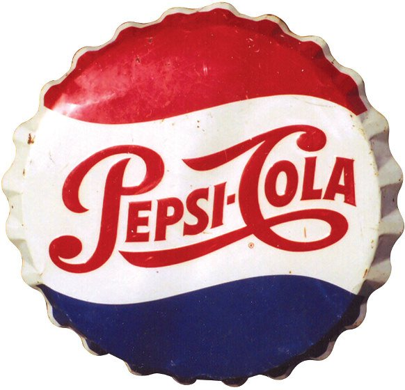 572: Pepsi-Cola bottle cap sign, enamel on metal, Good