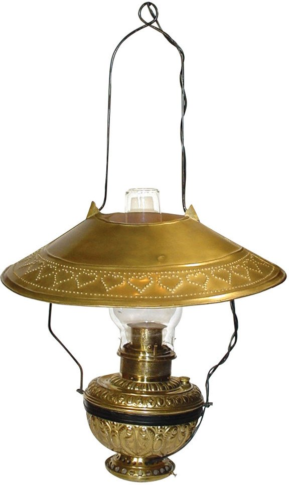 "573: Embossed brass hanging lamp, ""The Rochester"", pat."