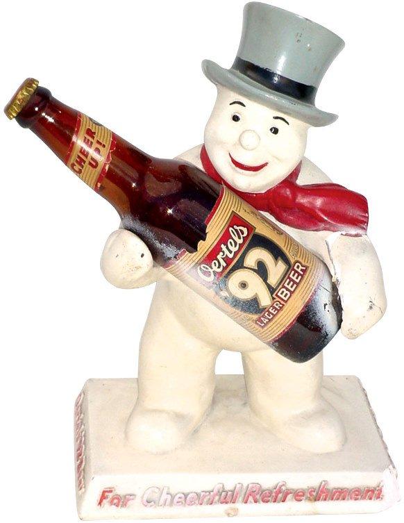 696: Oertels' 92 Beer statuette, chalkware snowman hold