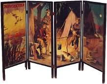 766: Winchester Rifles 4 panel adv. screen w/camping sc